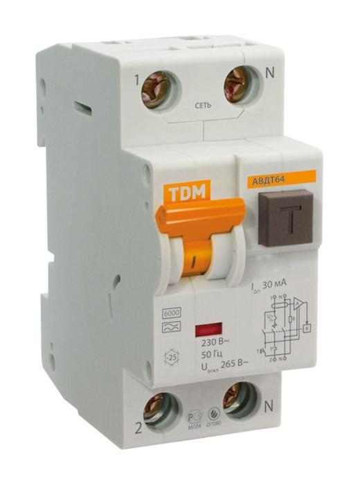 Выключатель Автоматический АВДТ 64 C50 30мА - Дифференциального тока TDM SQ0205-0011